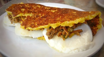 Cachapas with White Cheese and Shredded Beef